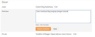 Cara membuat deskripsi untuk blog
