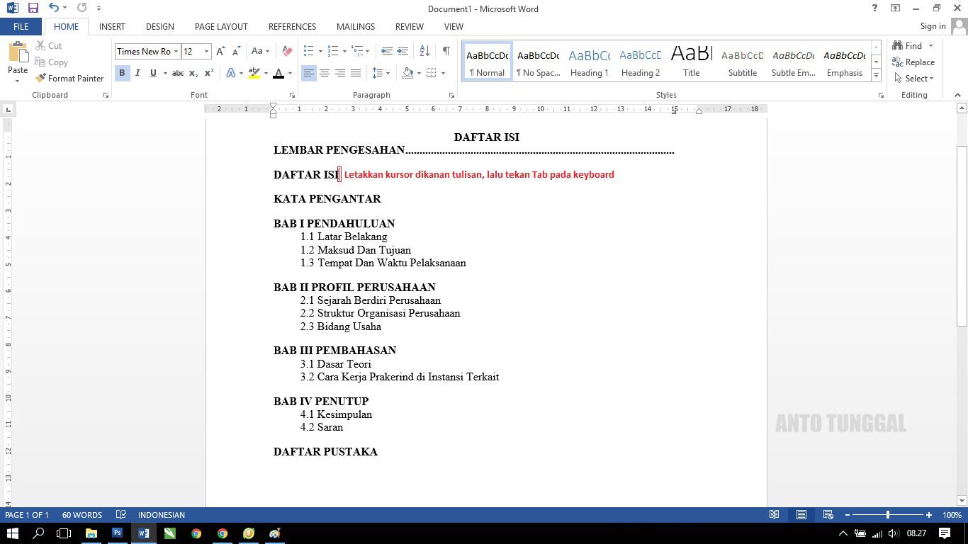 Cara Membuat Daftar Isi Dengan Titik Titik Untuk Laporan Prakerin