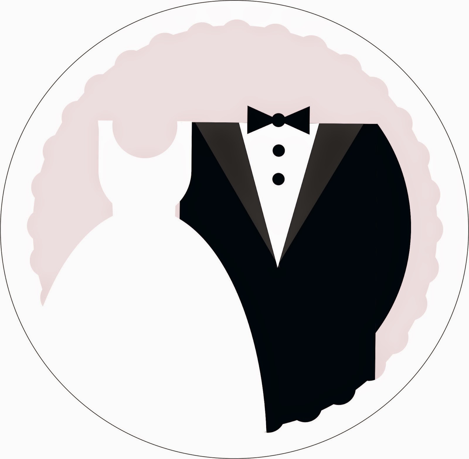 Groom Suit And Bride Dress: Free Printable Toppers Or