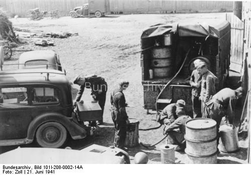 Filling vehicles in Lithuania 21 June 1941 worldwartwo.filminspector.com