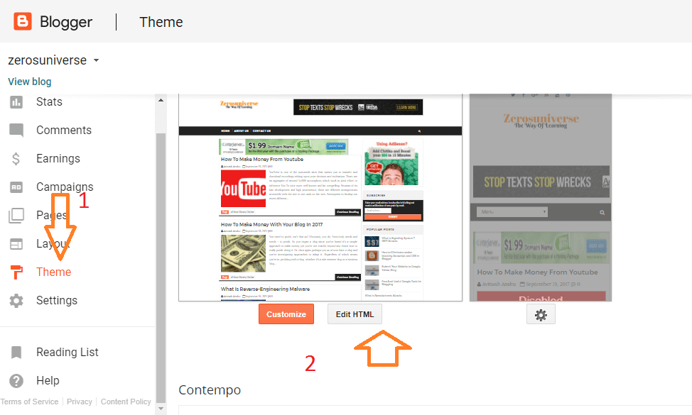 Go to  Blogger Themes
