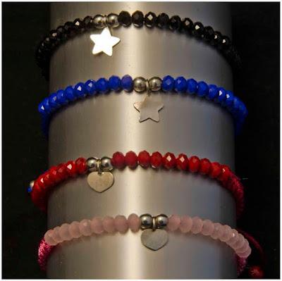 Pulsera cristales de colores colgante de corazon o estrella. Joyería Artesanal Personalizada