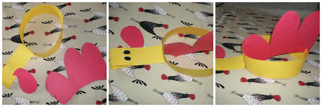 How to make a rooster chicken hat band mask preschool play costume