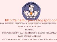 PERMENDIKBUD NOMOR 24 TAHUN 2016 TENTANG KI DAN KD KURIKULUM 2013 PENDIDIKAN DASAR DAN PENDIDIKAN MENENGAH