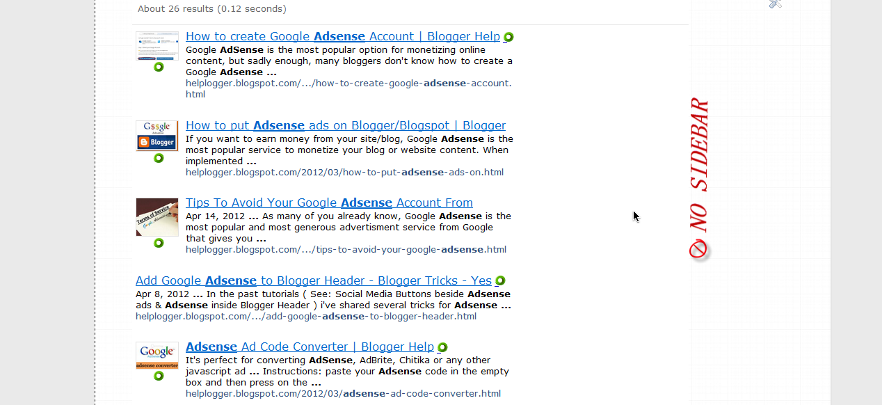 How to Hide Blogger Sidebar to Display AdSense For Search Results 1