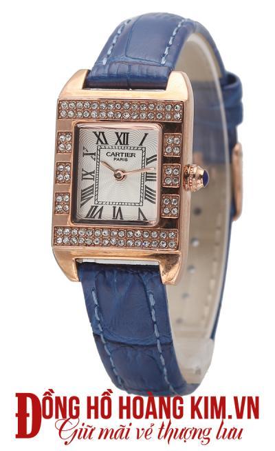 đồng hồ nữ dây da cartier mặt vuông