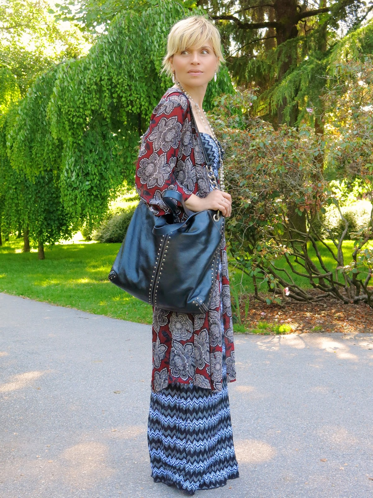 Styling a striped maxi dress with a floral chiffon kimono