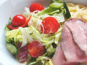 Salad pasta with roast beef. Stock Photo credit: kuwashima