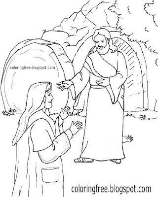 Sacred cavern printable holy drawings of Jesus happy Easter colouring pages for children to color in