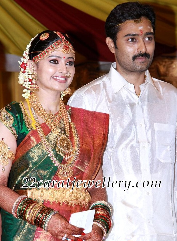 Sneha In Temple Jewelry At Her Wedding Event Jewellery