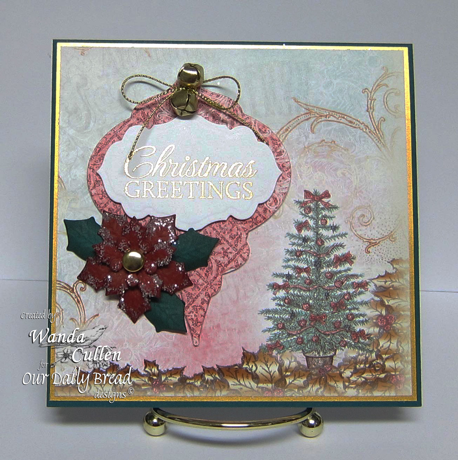 Stamps - Our Daily Bread Designs Let It Snow, ODBD Custom Peaceful Poinsettias Die, ODBD Custom Antique Labels and Border Dies, ODBD Christmas Paper Collection 2014