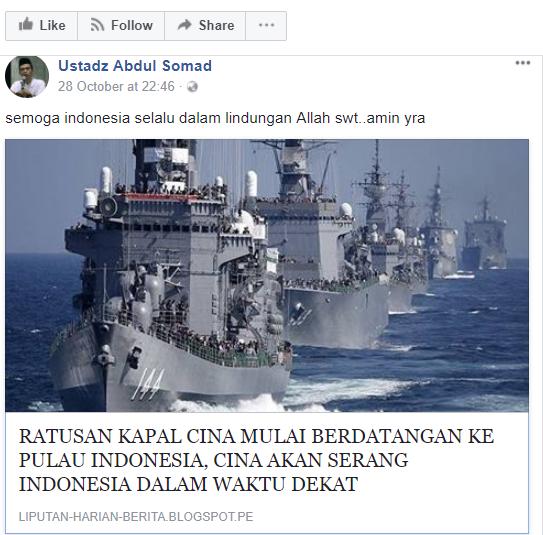 Akun Ustadz Abdul Somad Real Memposting Berita Hoax China Akan Serang Indonesia