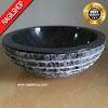 Wastafel marmer tulungagung bulat hitam motif asli batu alam diameter 40 cm