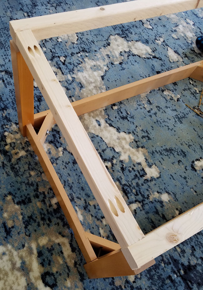 wooden coffee table being revamped