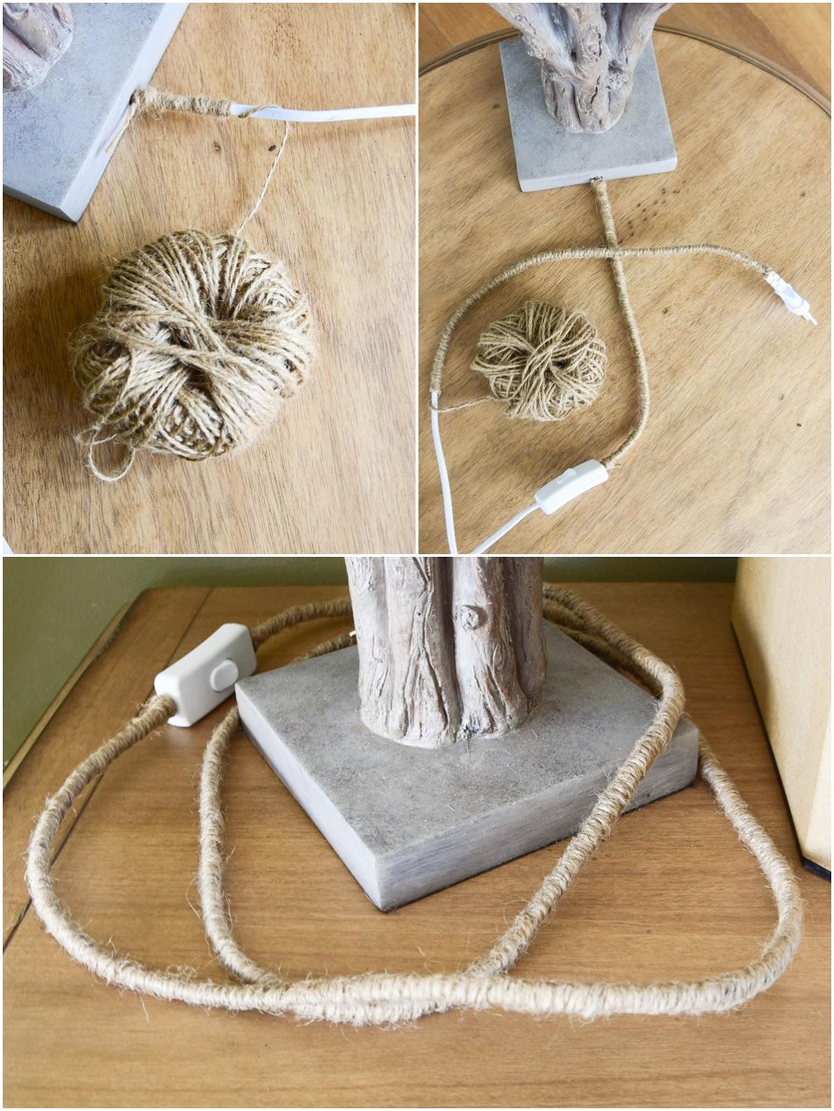 DIY.: Einfache Verschönerung von Stromkabel einer Tischlampe selber machen selbst gemacht