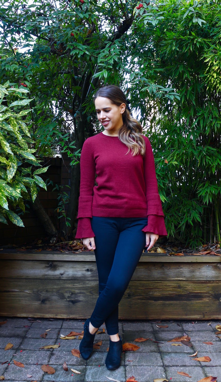 Jules in Flats - Ruffle Sleeve Sweater + Velvet Hair Bow (Business Casual Fall Workwear on a Budget)