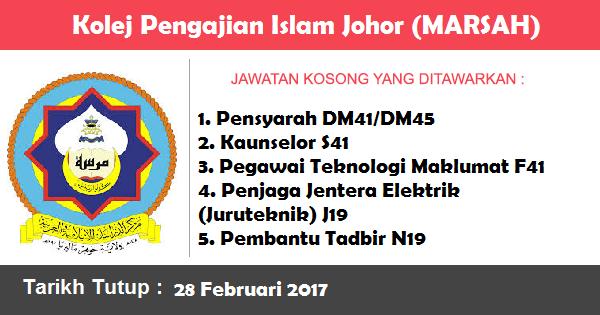 Jawatan Kosong di Kolej Pengajian Islam Johor (MARSAH)