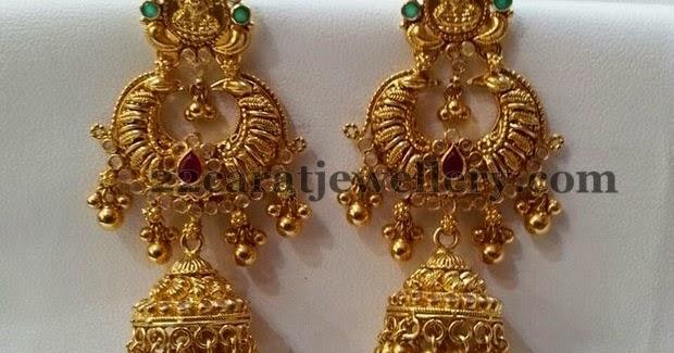 Gold Lakshmi Chandbali Jhumka Jewellery Designs