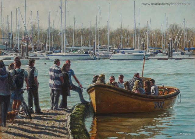 river Hamble water taxi Hampshire painting M P Davey