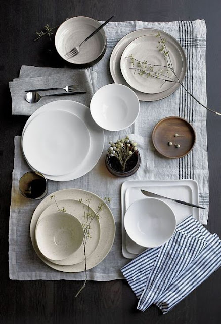 Slow living flatlay tablescape with rustic stoneware - found on Hello Lovely Studio