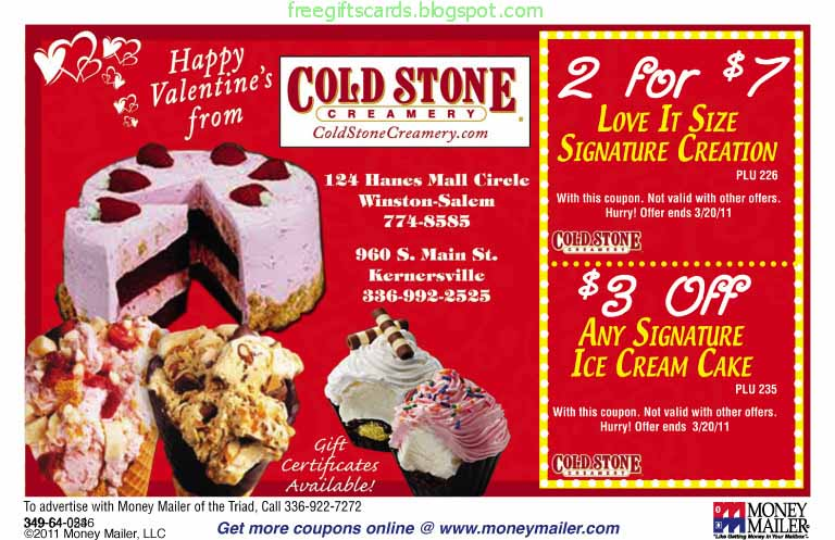 picture relating to Cold Stone Printable Coupons referred to as Discounted Discount coupons and Promo Codes 2019: Chilly Stone Creamery