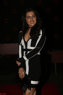 Ananya Soni in a Deep neck white blackl Dress at Shamanthakamani pre release function ~  Exclusive 070.JPG