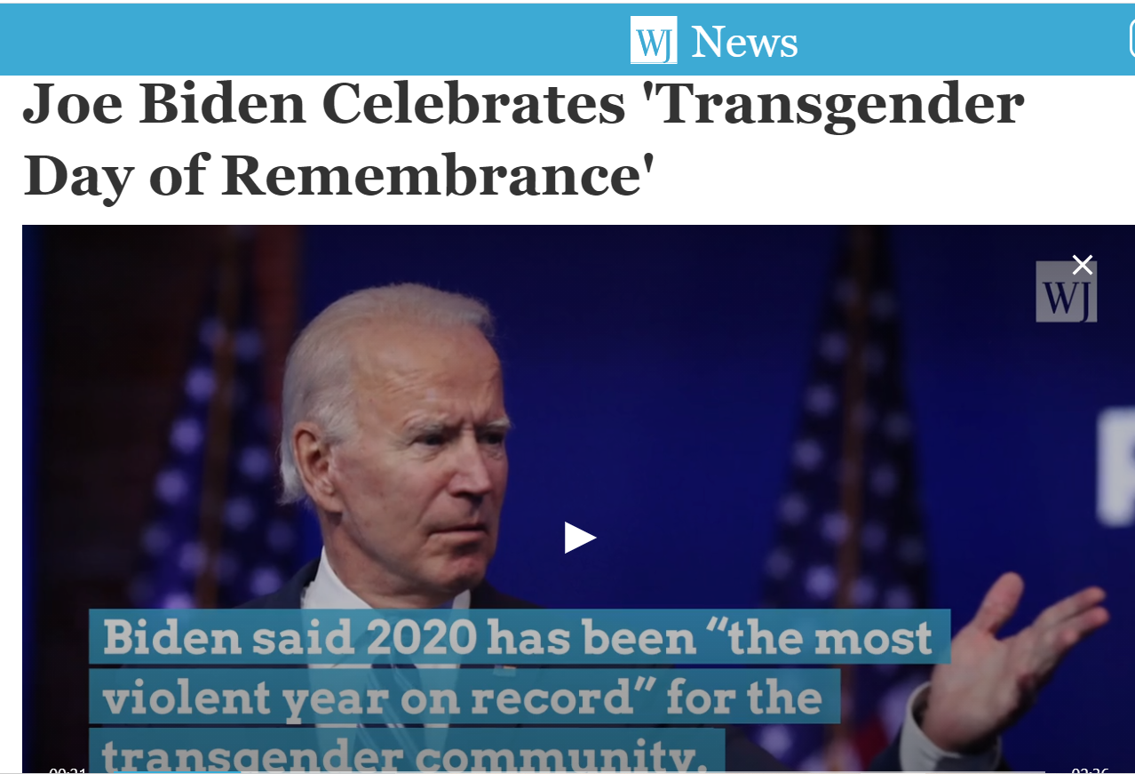 Apostate Joe Biden Celebrates 'Transgender Day of Remembrance'