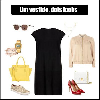 Be creative | Uma peça, dois looks: Vestido preto - Look casual com ténis beges e mala amarela e look formal com pumps vermelhos e clutch branca