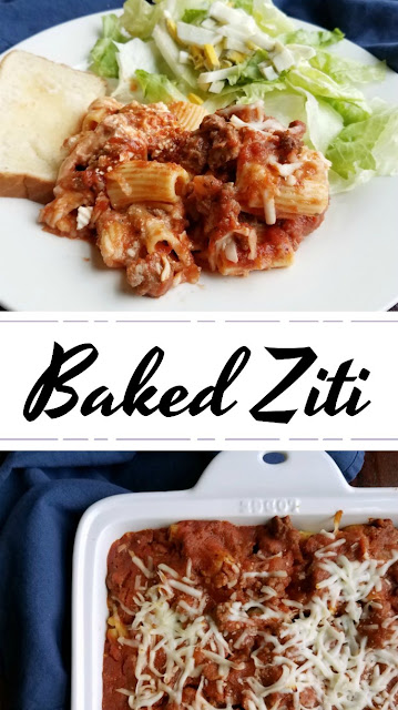 Warm and hearty baked ziti is sure to fill up your heart and your stomach. A family friendly dinner that is sure to leave them all happy and satisfied!