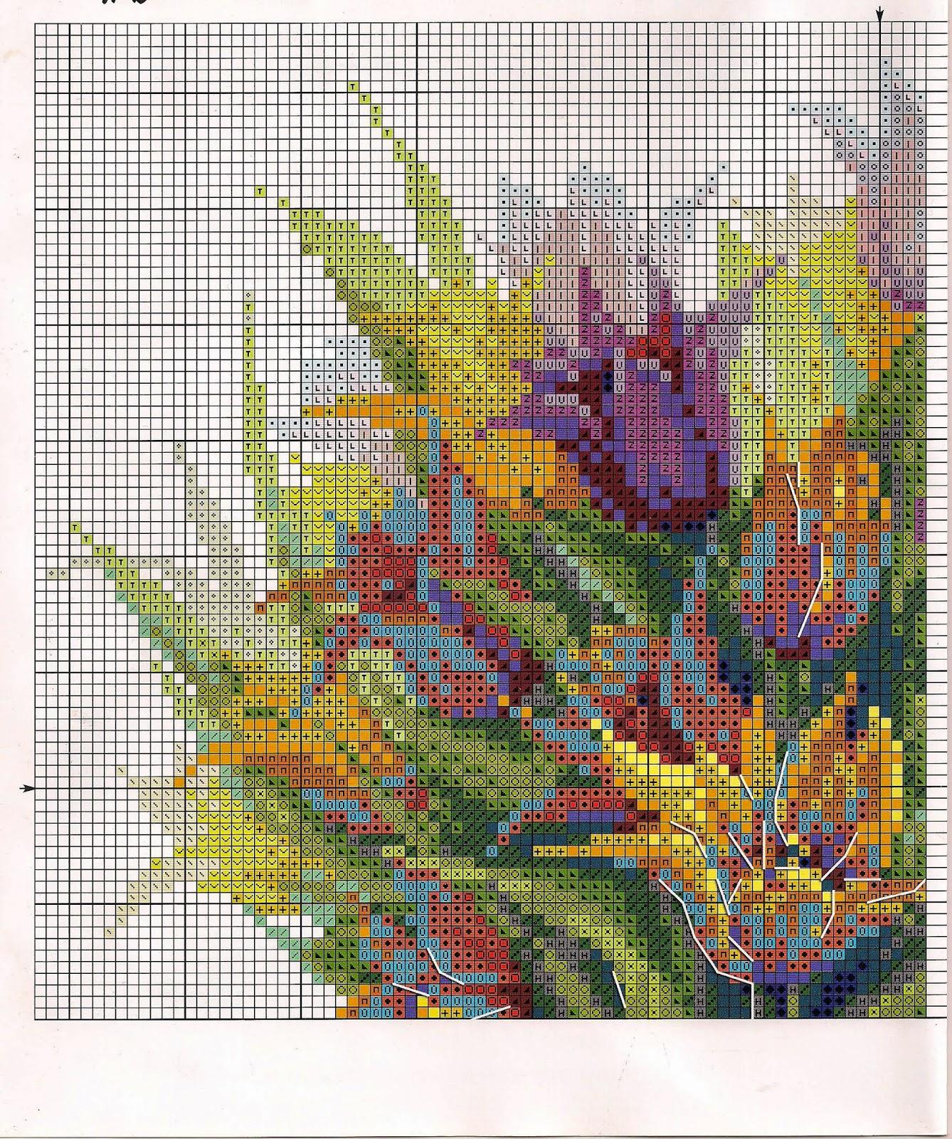 схема вышивки пейзаж с водопадом риолис