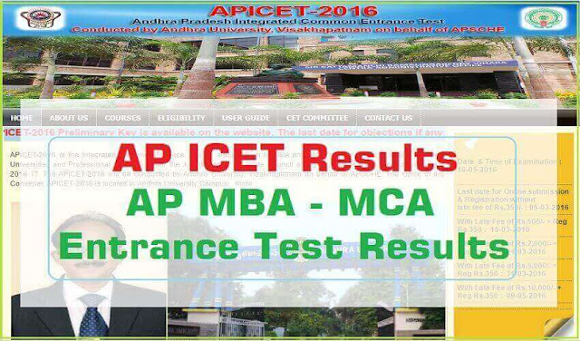 AP ICET,Results,MBA MCA Entrance Test Results 2016