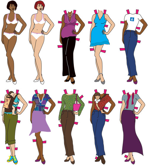 As I grew, the paper dolls evolved into women, not unlike these