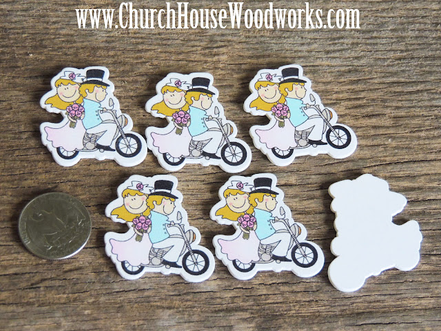 Bride And Groom Riding on Motorcycle Wood Table Confetti or DIY Wedding Centerpieces- Pack of 5 by Church House Woodworks