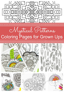 Mystical patterns colouring pages for grown ups
