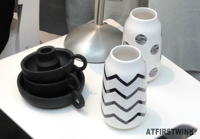 HEMA candle stick holders vases zig zag polkadot print