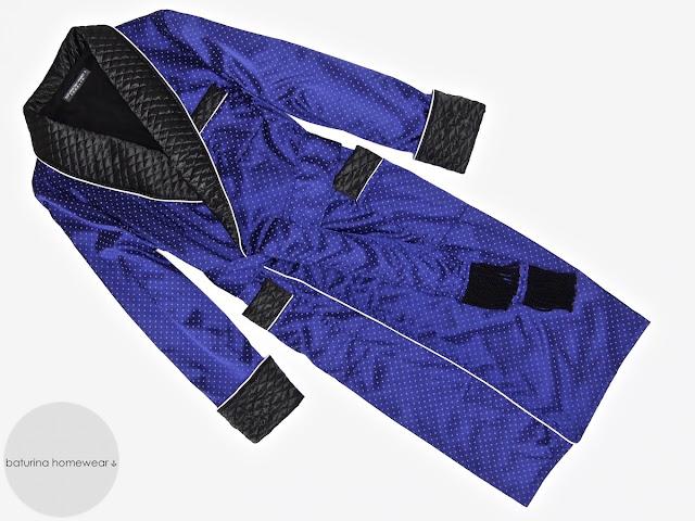 Mens blue silk dressing gown quilted smoking jacket robe gentleman