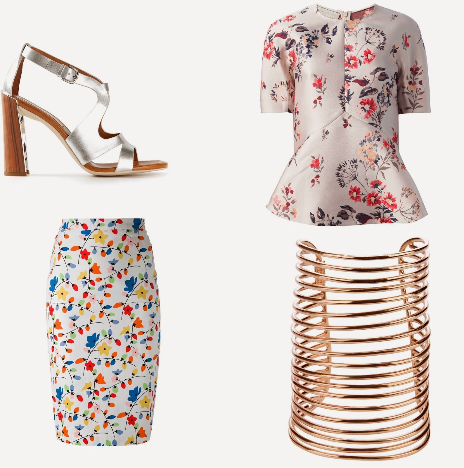 Stella McCartney Lily SHoes and Peplum Top. Moschino Floral Skirt, Pjilippe Audibert Cuff