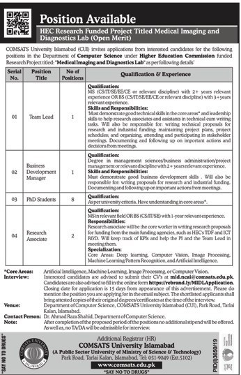 Latest Jobs in Comsats University Islamabad CUI