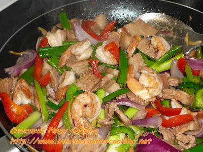 Pork and Prawn Stirfry with Oysters Sauce - Cooking Procedure