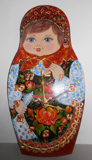 This Wall clock handmade painted by a professional nesting doll artist. Painting coated 2 layers of crystal clear lacquer The Clock - Matryoshka is signed by the artist.