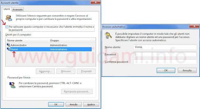 Finestra Account utente Windows opzione per rimuovere richiesta password accesso account utente
