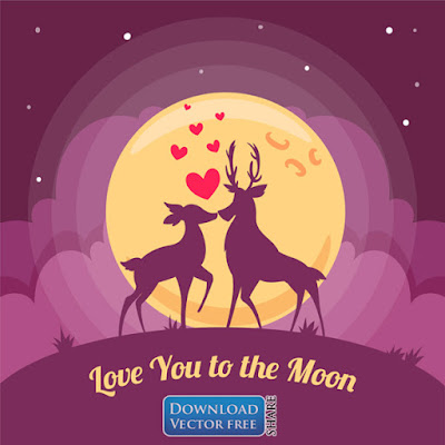nen-do-hoa-doi-huou-yeu-thuong-lang-man-romantic-deer-vector-6770