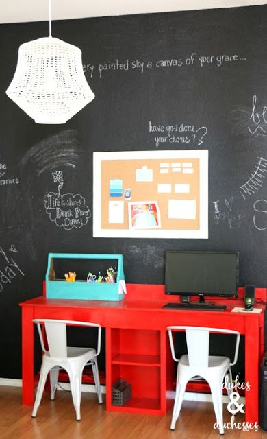 Giant chalkboard wall for home office