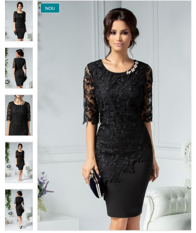 Rochie scurta eleganta de iarna neagra de ocazie din dantela
