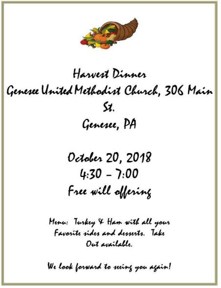 10-20 Harvest Dinner Genesse UMC