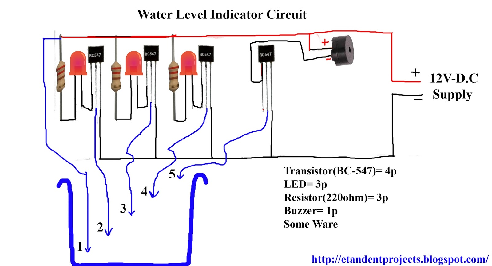 Water Level Indicator Circuit Diagram - ET & ENT PROJECT\'S