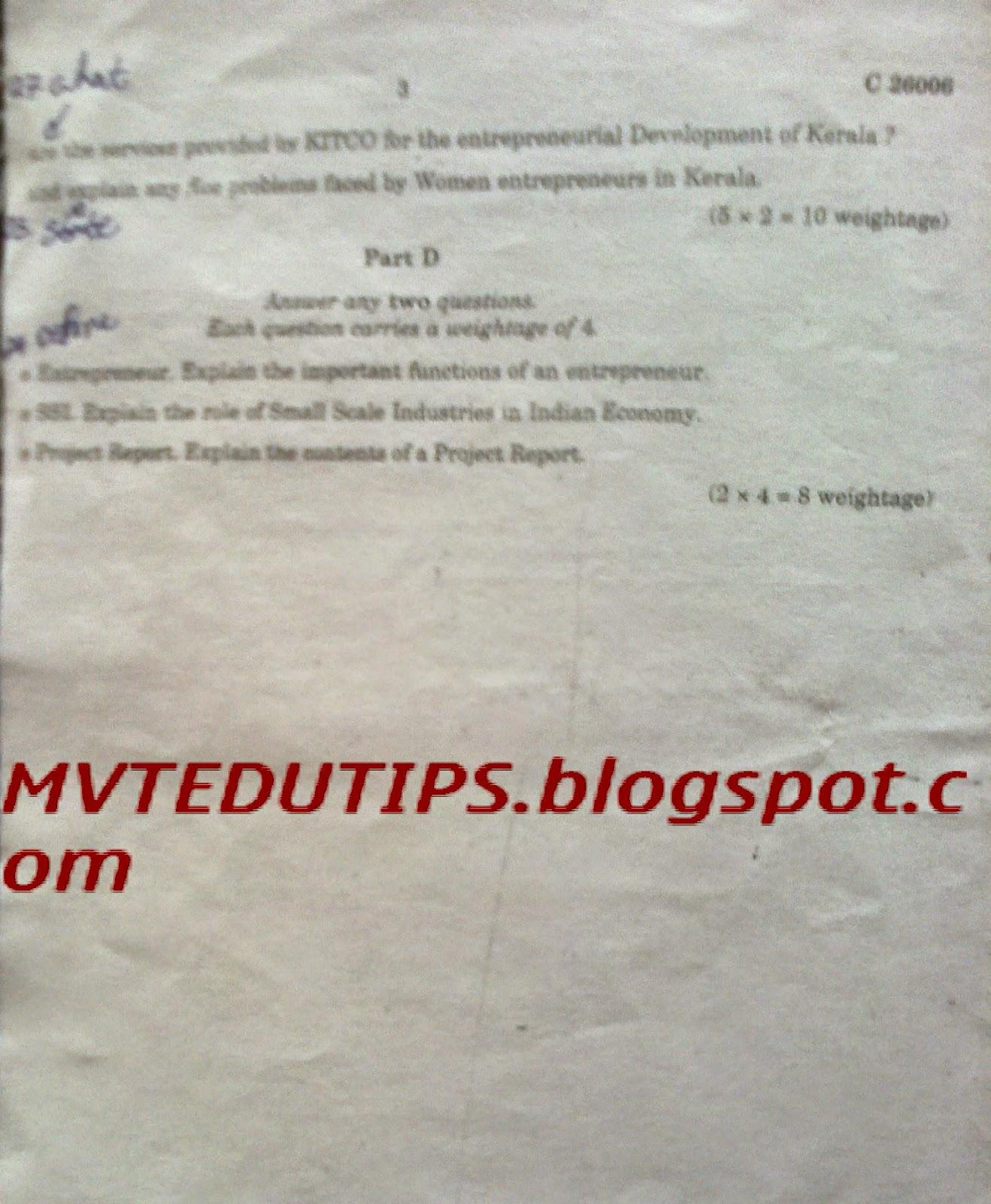 University Degree: Calicut University Degree Question Papers