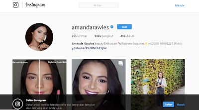 Akun Instagram Amanda Rawless