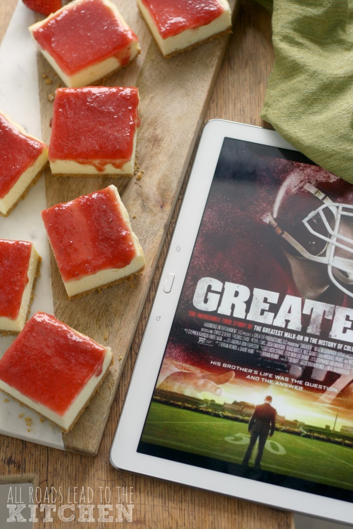 Strawberry Cheesecake Bars inspired by #GREATERmovie