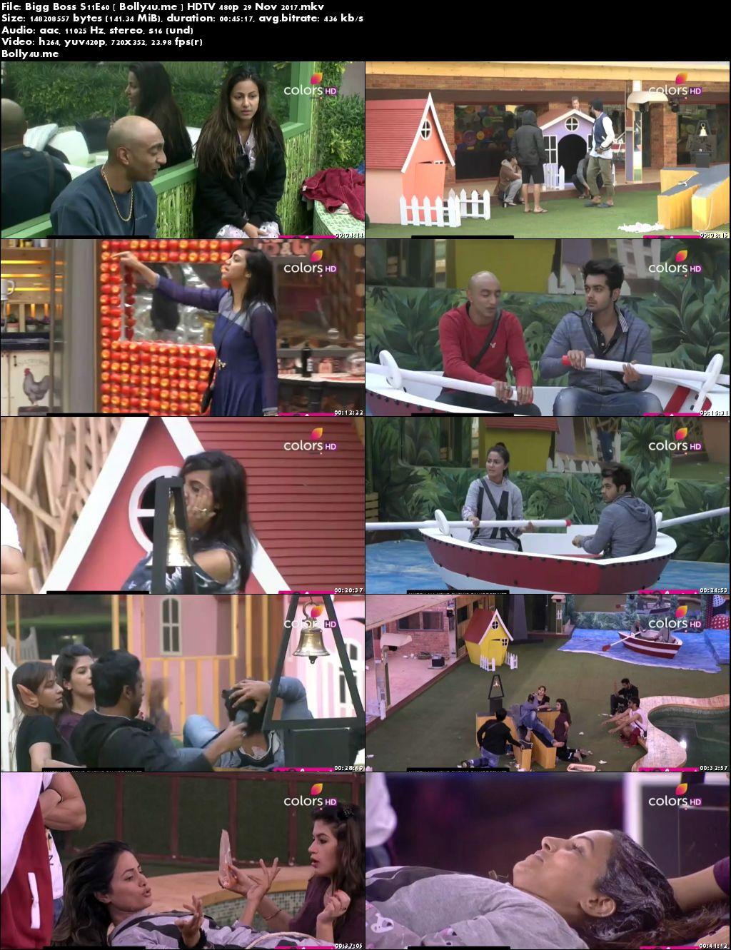 Bigg Boss S11E60 HDTV 140MB 480p 29 November 2017 Download
